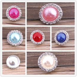 Gioielli intercambiabili pietre online-perla con bottone a scatto con bottone a scatto in pietra CZ per braccialetto noosa Bottoni a pressione intercambiabili Accessorio per gioielli fai da te Ginger Snap Jewelry