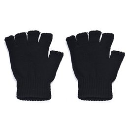 Wholesale Fingerless Elastic Gloves - Wholesale-New brand 2015 fashion Men Black Knitted Stretch Elastic Warm Half Finger Fingerless Gloves