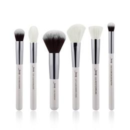 Wholesale Beauty Buffer - Jessup 6pcs Pearl White  Silver Professional Makeup Brushes Sets Make Up Brush Beauty Tools Cosmetic Buffer Paint Cheek Highlight Powder