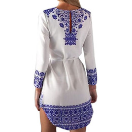 Wholesale Dress Size 18 Sleeves - Wholesale-2015 Summer Style Women Fashion Vintage Floral Print Long Sleeve Dress Casual O-Neck Dress Vestidos Plus US Size 4-18