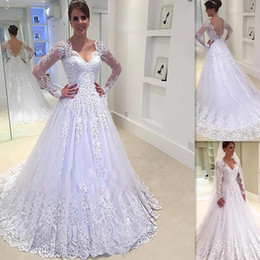 Wholesale Long Western Dresses For Women - 2017 Luxurious Lace Wedding Dresses With Long Sleeves V-neck A-line Elegant Bridal Gowns For Country Women Vintage Western Illusion Back
