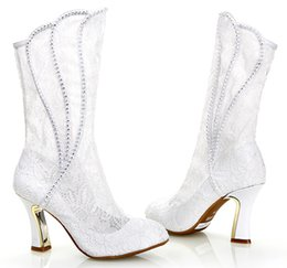 Wholesale High Heeled Wedding Boots - New arrivel lace women wedding boots white lace high-heeled boots wedding shoes