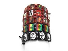 Wholesale Marley Wood - Free Shipping!! 24pcs lot Handmade Bob Marley Wood Bracelet