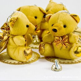 Wholesale Holiday Chocolate Box - Western Style Creative Gift Bags Cute Little Bear With Gold Backpack Candy Chocolate Bag For Wedding Holiday Party Decorations Supplies