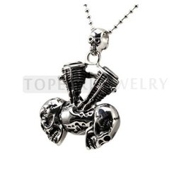 Wholesale Large Motor - Teboer Jewelry 3pcs Large Heavy Skulls Heads Motor Vintage Stainless Steel Pendant for Man MEP34