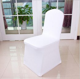 Wholesale Fold Chair Covers - Free Shipping Universal White Polyester Spandex Wedding Chair Covers for Weddings Banquet Folding Hotel Decoration Decor
