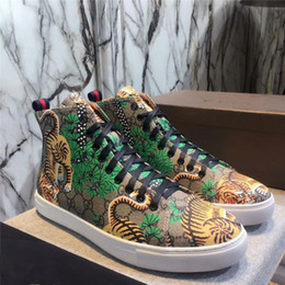 Wholesale Rubber Ends - High-end men's shoes autumn and winter high-top shoes casual leather lace tiger head embroidery England board shoes