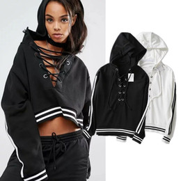 Wholesale lace hooded - Street Lace Up Crop Hoodies Sweatshirts Women Hooded Short Pullover Female 2017 Spring Tracksuit for Women Crop