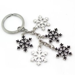 Wholesale Key Chain Charms Wholesale - Free Shipping Wholesale Snowflake Jewelry Black and White Epoxy Snowflake Charms Key Chain Christmas Snowflake Key Ring for Winter Gift