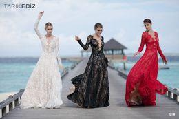 Wholesale Tarik Ediz Blue Dresses - 2016 tarik ediz Long Sleeves Evening Dresss Long Sheer Neck A Line Lace Prom Dress Women Formal Wear Modest Formal Party Gowns