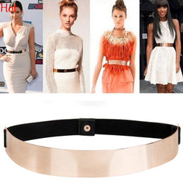 Wholesale Elastic Metal Belt - Women Slim Elastic Metallic Cummerbund Bling Simple Belts Fashion Black Gold Plate Metal Waist Belt WiastBand For Dress Wholesale SV015277