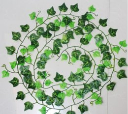 Wholesale Plastic Wedding Flowers - 240 cm Artificial Ivy Leaf Garland Plants Plastic green long Vine Fake Foliage flower Home decor Wedding decoration