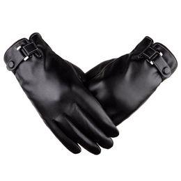 Guanti da uomo touch-screen Guanti in pelle lavata Tendini Autunno e Inverno PU Plus Velvet Spessa Moda coreana Drive da