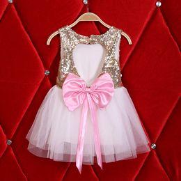 Wholesale Dresses Bling Knee Length - Children party dresses kids bling sequins vest dress New girls backless love heart Bows tulle tutu dress Valentine's Day dress A7502