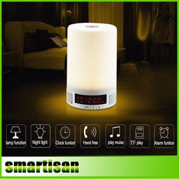 Wholesale Magic Card Lamp - L2 LED magic table night lamp wireless bluetooth stereo speaker TF Card mp3 player Clock and Alarm Clock desk lamp reading lamp