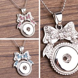 Wholesale Bowtie Necklaces - New Hot Style NOOSA Ginger Snap Charms Jewelry Interchangeable Jewerly Crystal Bowtie style Pendants Necklace 3 Colors