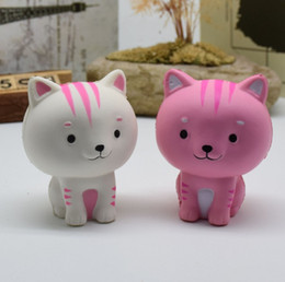 Wholesale Cute Pink Cat - Pussycat Cat Jumbo Squishy Pink White Cat Kawaii Cute Animal Squishies Slow Rising Sweet Scented Vent Charms Bread Cake Kid Toy Gift