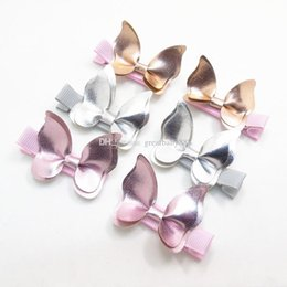 Wholesale Hair Clips Butterflies - Xmas INS Baby Hair clips Butterfly PU Barrettes girl Bow Hair accessories baby gifts Fashion Hot sale Boutique C3151