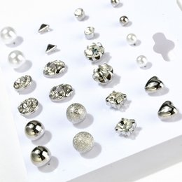 Wholesale Round Silver Ball Earring - 12 pairs Gold Silver Round Square Ball Alloy Crystal Stud pearl Earrings For Women Cute stud earrings Set