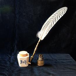 Wholesale Antique Pens - Wholesale-Quill retro , antique quill feather dip pen , sign , pen and pen holder
