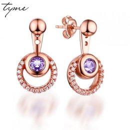 Wholesale Double Stud Ear Cuff - Multicolored Purple Crystal Earrings For Women Double Circle Cubic Zirconia Earings Fashion Jewelry 2017 Korean Ear Cuff