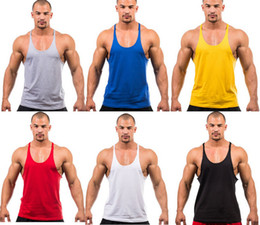Wholesale Mens Vest Tank Tops - Wholesale Cotton Gym Tank Top Mens Bodybuilding Stringer Tops Undershirt Fitness Vest Muscle Sleeveless Singlet Racerback Top
