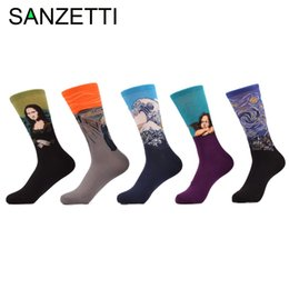 Wholesale van wholesalers - Wholesale- SANZETTI 5 pair lot Men's Funny Socks Painting Mona Lisa Van Gogh Hokkaido Happy Socks Combed Cotton Socks
