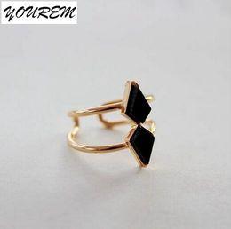 Wholesale Good Cracks - Wholesale- 2017 Trendy creative crack open black triangel ring for women adjustable size alloy gold color rings good quality fj388 YOUREM