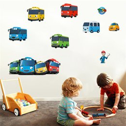 Wholesale Boy Nursery Decor - 3D Cartoon Tayo the Little Bus wall sticker For Kids Baby boy rooms Nursery Decoration Gift Bedroom bathroom Decals Decor Mural