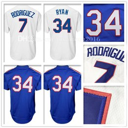 Wholesale Men Rodriguez - Men's 34 Nolan Ryan 7 Ivan Rodriguez Baseball Jersey Adult Nolan Ryan Ivan Rodriguez Retro Jerseys Embroidery 100% Stitched