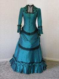 Wholesale Gothic Victorian Wedding - Custom Made Actual Image Turquoise Black Gothic Wedding Dresses with Long Sleeves Lolita Victorian Girl Party Dress Bridal Gowns Plus Size