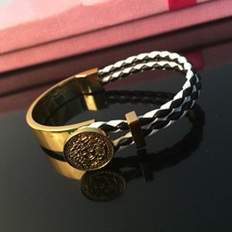 Wholesale Mens Weave Bracelet - Hiphop Medusa Leather Bracelets For Mens Fashion Hip Hop Weave Bangle Brand Hip-Hop Chains Gold Plated Jewelries Accessories Freeshipping