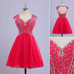 Wholesale Pink Sweetheart Tencel Dress - Beading 2015 A Line New Arrival Short Evening Dress Square Collar Cap Sleeve Fine Tencel And Backless Evening Gowns