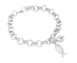 Wholesale Fish Charms Lobster Clasp - New Arrive 1PCS Fashion alloy bracelet Silver Tone Metal Pegasus Fish Bone Rhinestone Charm Chain Bracelet
