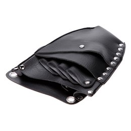 Wholesale Hairdressing Holster Pouch - Leather Barber Scissor Hairdressing Holster Pouch Holder Case Rivet Clips Bag with Waist Shoulder Belt H13885