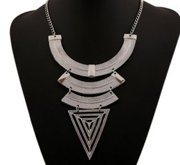 Wholesale Necklace Big Geometric - 2017 European retro Necklace geometric triangle type necklace pendant chain big trade clavicle sweater chain accessories