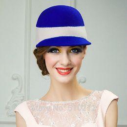 Wholesale Australian Hat For Men - Wholesale-100% Imported Australian wool elegant women's fedoras winter wool hat for women women's fedoras vintage