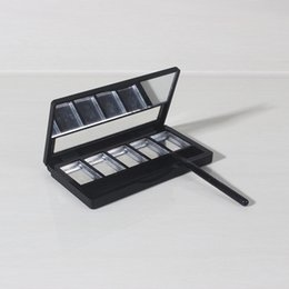 Wholesale Empty Eye Shadow Pan - 5 Grids Empty Eye Shadow with Mirror, Black Palette Pans, Makeup Tool, Cosmetic DIY High Quality Plastic Box F20172341