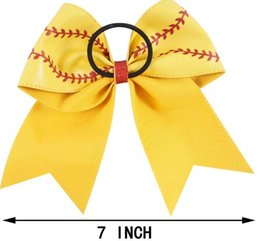 Wholesale school hair bows - 7 Inch Baseball Hair Bow Softball Hair Bow White Baseball Cheer Bow For Cheerleader Girls School