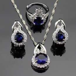 Wholesale Blue Topaz Sterling Jewelry - New Style Blue Sapphire White Topaz Jewelry Sets Women Silver Necklace Pendant Earrings Rings Free Jewelry Box