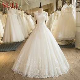 Wholesale Photo Half - 2018 New Off the Shoulder Lace Applique Wedding Dress Ball Gowns Beaded Half Sleeves Real Photos Lace-up Back Vestido De Noiva Bridal Dress