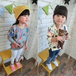 Wholesale Cartoon Shirts For Girls - Children Sweatershirt 2016 Spring Fashion Cartoon Printed Girls Casaul T Shirt Long Style Tops For Kids 100-140 Fit 3-9Age 10PCS lot T1830