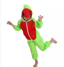 Wholesale Parrot Halloween Costume - Free Shipping Lint Cartoon Parrot Halloween Costume Animal Cosplay Apparel Performance Kids Clothing Children's party supplies