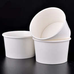 Wholesale Paper Ice Cream Cups - White Paper Ice Cream Bowl with Arched Cover Disposable Water-ice Snowsludge Cup Bowl Party Supplies 100pcs lot SK718