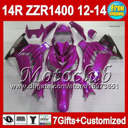2019 kawasaki morado 7gifts Para KAWASAKI NINJA ZZR1400 2012 2013 2012 Purple black 2013 ZZR 1400 2C580 ZZR-1400 12-13 Purple blk ZX14R 12 13 12 13 Carenado rebajas kawasaki morado