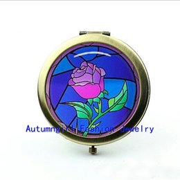 Wholesale Metal Antique Pocket Mirror - New Arrival Rose Compact Mirror Beauty and The Beast Glass Picture Jewelry Antique Pocket Mirrors--00396