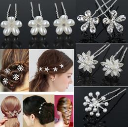 Wholesale Star Rhinestone Wedding Hair Clip - 40Pcs New Crystal Diamante Rhinestone Pearl Butterfly Star Wedding Bridal Party Flower Hair Clip Hairpin Bridemaid Jewelry Free JH03027