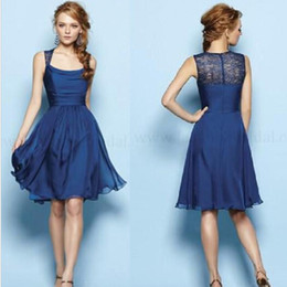 Wholesale Empire Strapless Knee Length - New Simple Cheap Royal Blue Scoop Sleeveless Empire A Line Knee-Length Chiffon Bridesmaid Dresses Evening Gowns Prom Dress Custom-Made