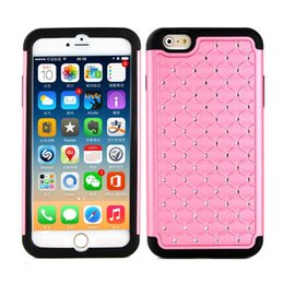 "Wholesale Black Skin Rhinestones - Starry Diamond Case for iPhone 6 Plus 5.5"" Hard PC With Bling Rhinestone + Soft Silicone Hybrid Shockproof Back Battery Skin Cover"