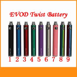 Wholesale e cigarette battery voltage - Evod Twist Battery 650 900 1100 1300mah Variable Voltage 3.2-4.8v Batteries For Mt3 Ce4 H2 Atomzer Tank E Cigarettes Colorfull